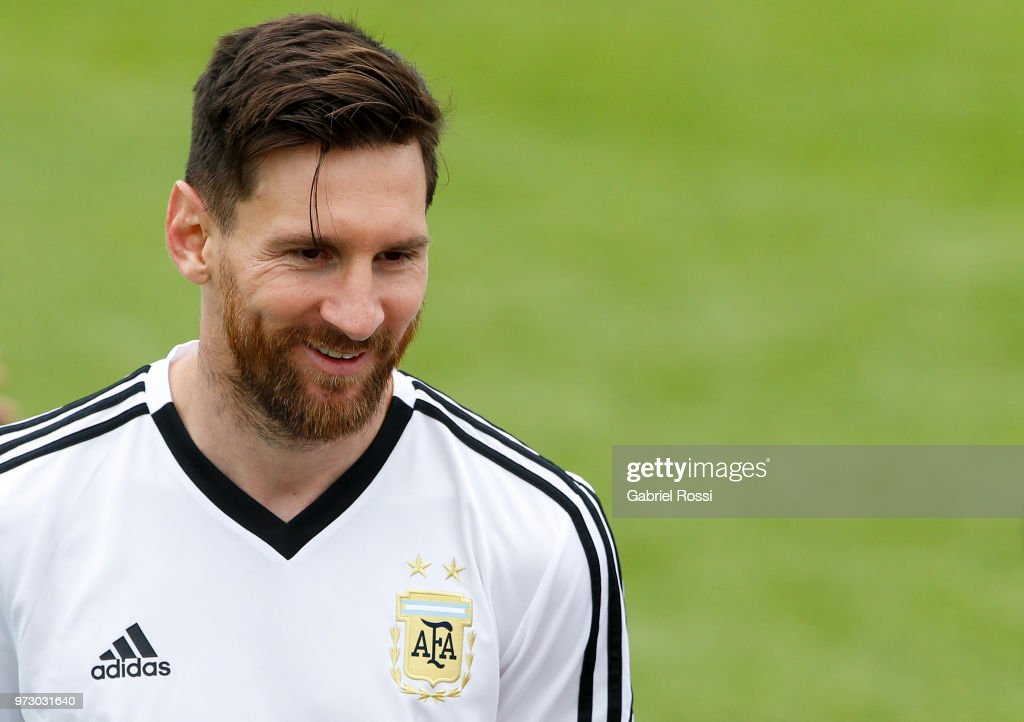 Lionel Messi of Argentina smiles during a training session at the team base camp on June 13, 2018 in Bronnitsy, Russia.