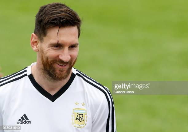Lionel Messi of Argentina smiles during a training session at the team base camp on June 13 2018 in Bronnitsy Russia