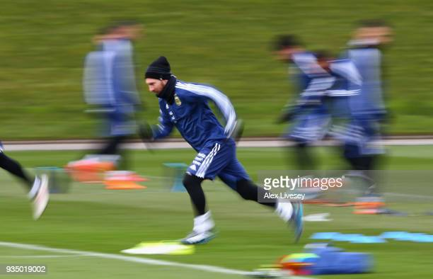 Lionel Messi of Argentina sprints during a Argentina training session at Manchester City Football Academy on March 20 2018 in Manchester England