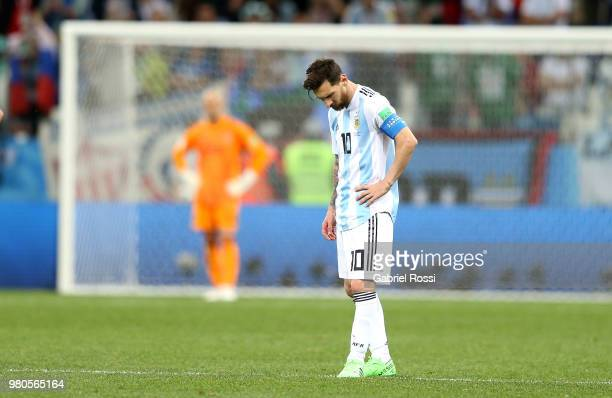 Lionel Messi of Argentina stands dejected after the 2018 FIFA World Cup Russia group D match between Argentina and Croatia at Nizhny Novgorod Stadium...