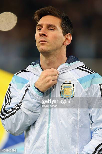 Lionel Messi of Argentina stands during the playing of national anthems prior to the International Friendly between Argentina and Croatia at Boleyn...