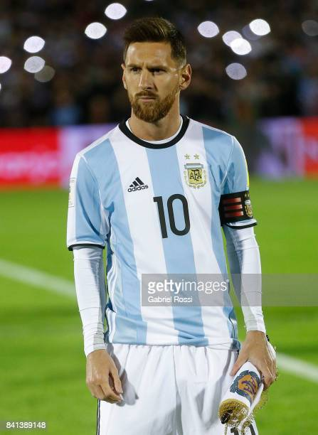 Lionel Messi of Argentina stands for the National Anthem prior a match between Uruguay and Argentina as part of FIFA 2018 World Cup Qualifiers at...