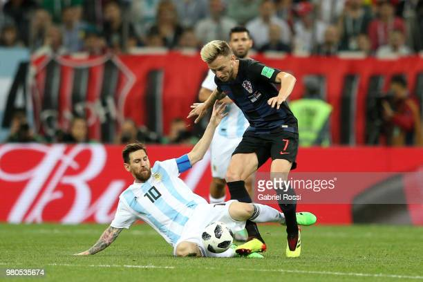 Lionel Messi of Argentina tackles Ivan Rakitic of Croatia during the 2018 FIFA World Cup Russia group D match between Argentina and Croatia at Nizhny...