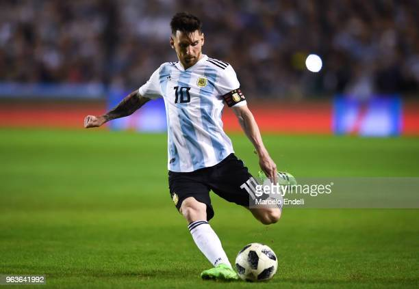 Lionel Messi of Argentina takes a free kick during an international friendly match between Argentina and Haiti at Alberto J Armando Stadium on May 29...