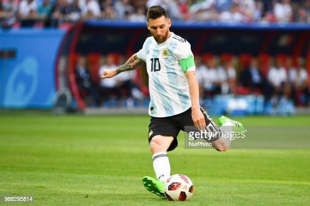 Lionel Messi of Argentina takes a free kick during the 2018 FIFA World Cup Round of 16 match between France and Argentina at Kazan Arena in Kazan...