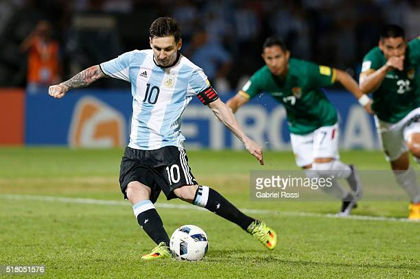 Lionel Messi of Argentina takes a penalty kick during a match between Argentina and Bolivia as part of FIFA 2018 World Cup Qualifiers at Mario...
