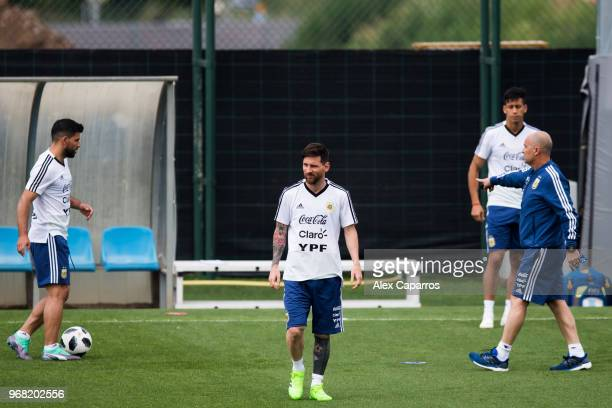 Lionel Messi of Argentina takes part in a training session as part of the team preparation for FIFA World Cup Russia 2018 at FC Barcelona 'Joan...