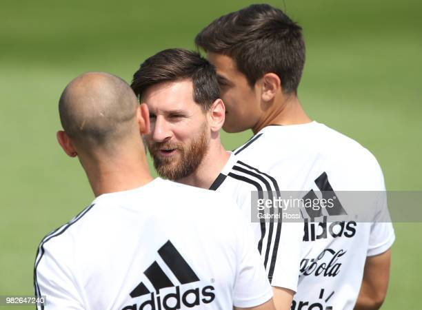 Lionel Messi of Argentina talk with Javier Mascherano of Argentina prior a training session at Stadium of Syroyezhkin sports school on June 24 2018...