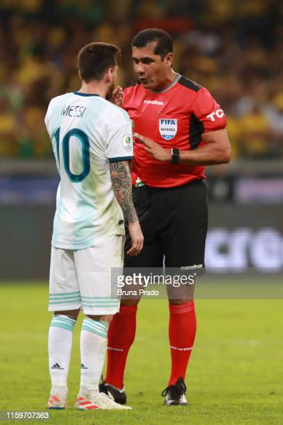 Lionel Messi of Argentina talk with Referee Roddy Zambrano during the Copa America Brazil 2019 Semi Final match between Brazil and Argentina at...