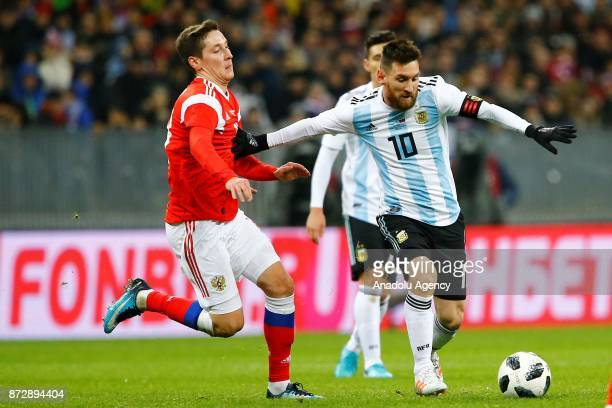 Lionel Messi of Argentina vies for the ball during the international friendly match between Russia and Argentina at BSA OC 'Luzhniki' Stadium in...