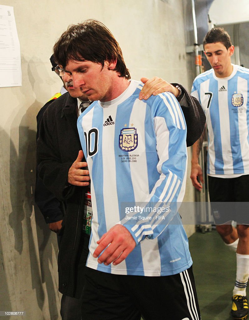 Lionel Messi of Argentina walks down the tunnel dejected after the 2010 FIFA World Cup South Africa Quarter Final match between Argentina and Germany at Green Point Stadium on July 3, 2010 in Cape Town, South Africa.