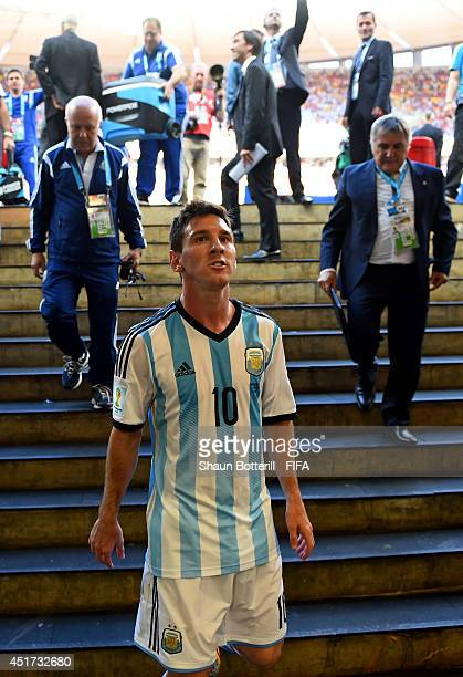 Lionel Messi of Argentina walks in the tunnel after the 1-0 win in the 2014 FIFA World Cup Brazil Quarter Final match between Argentina and Belgium...