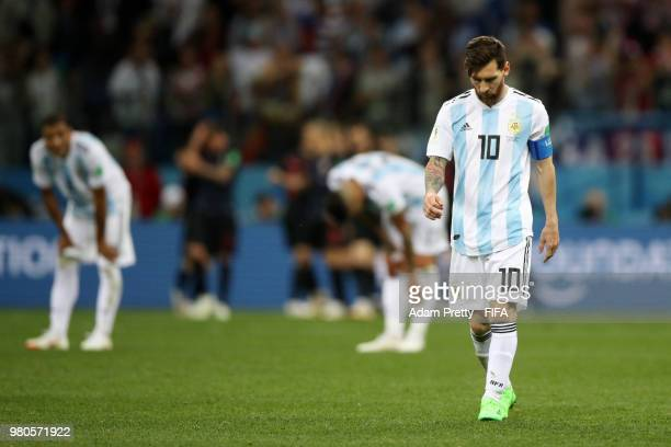 Lionel Messi of Argentina walks off dejected after the 2018 FIFA World Cup Russia group D match between Argentina and Croatia at Nizhny Novgorod...