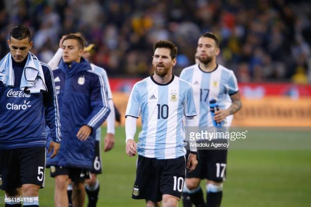 Lionel Messi of Argentina walks off the filed after Argentina's 10 victory during a friendly football international between Argentina and Brazil at...