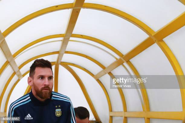 Lionel Messi of Argentina walks onto the field prior a match between Ecuador and Argentina as part of FIFA 2018 World Cup Qualifiers at Olimpico...