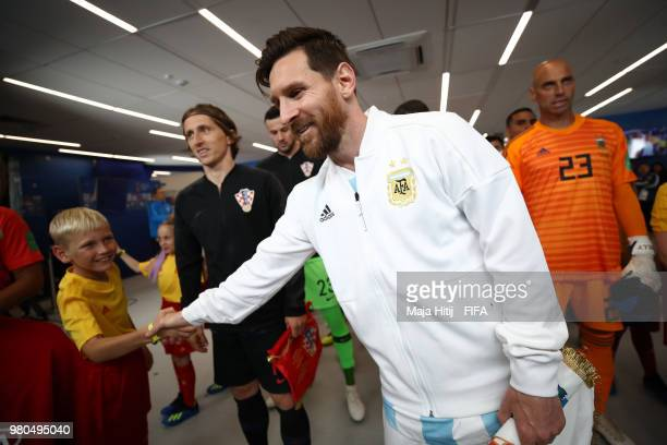 Lionel Messi of Argentina walks out prior to the 2018 FIFA World Cup Russia group D match between Argentina and Croatia at Nizhny NovgorodStadium on...