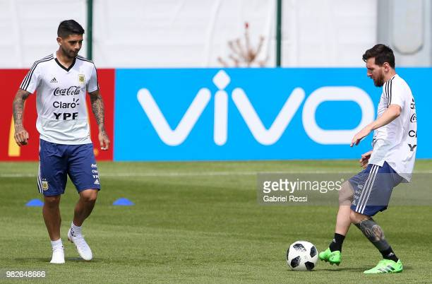 Lionel Messi of Argentina warms up during a training session at Stadium of Syroyezhkin sports school on June 24 2018 in Bronnitsy Russia