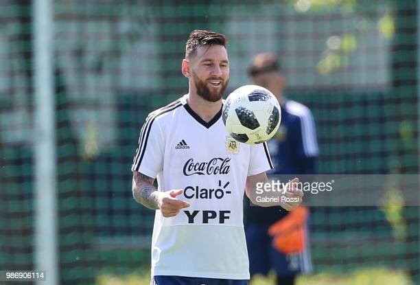 Lionel Messi of Argentina warms up during a training session at Stadium of Syroyezhkin sports school on June 28 2018 in Bronnitsy Russia