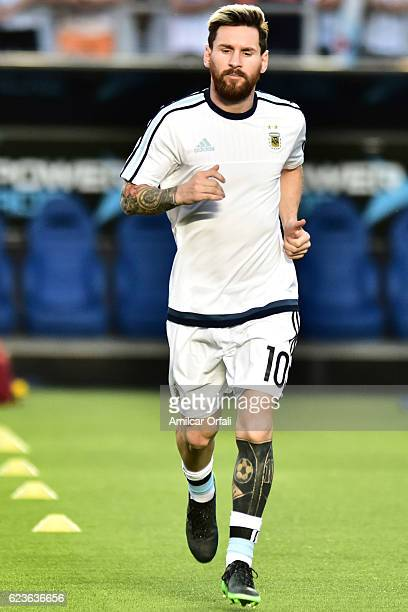 Lionel Messi of Argentina warms up prior a match between Argentina and Colombia as part of FIFA 2018 World Cup Qualifiers at Bicentenario de San Juan...