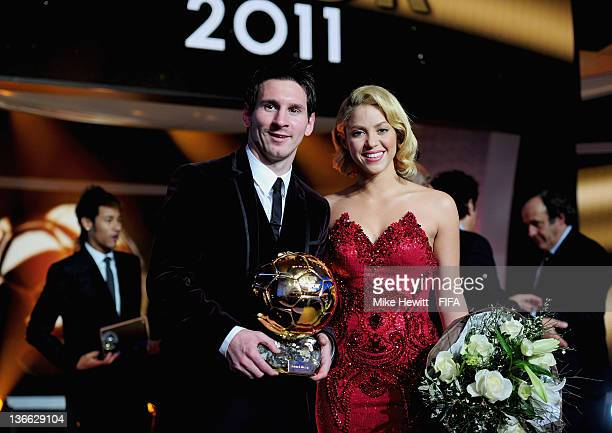 Lionel Messi of Argentina with Shakira after winning his third consecutive FIFA Ballon d'Or title at the FIFA Ballon d'Or Gala 2011 at the...