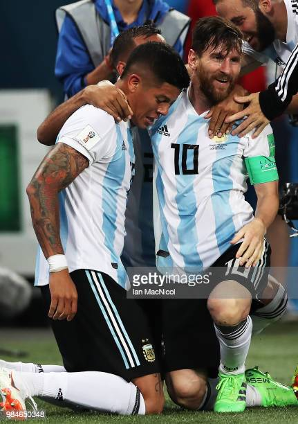 Lionel Messi of Argentinacelebrates with Marcos Rojo of Argentina after he scores the winning goal during the 2018 FIFA World Cup Russia group D...