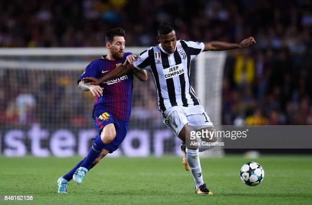 Lionel Messi of Barcelona and Alex Sandro of Juventus battle for possession during the UEFA Champions League Group D match between FC Barcelona and...