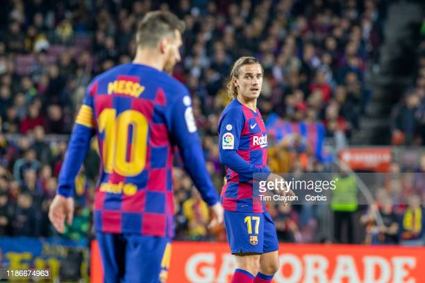Lionel Messi of Barcelona and Antoine Griezmann of Barcelona during the Barcelona V Celta Vigo La Liga regular season match at Estadio Camp Nou on...