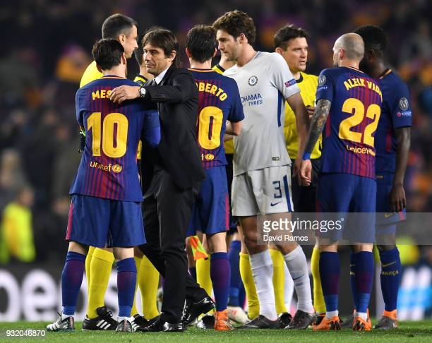 Lionel Messi of Barcelona and Antonio Conte Manager of Chelsea embrace after the UEFA Champions League Round of 16 Second Leg match FC Barcelona and...