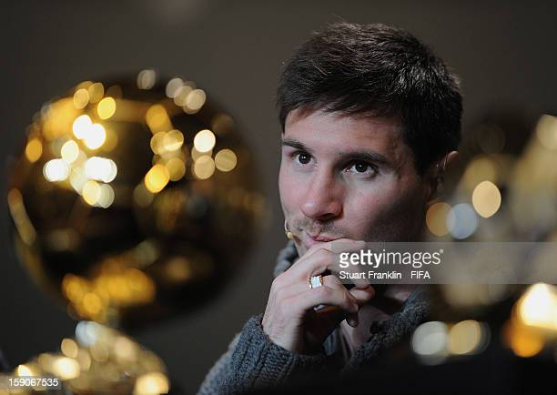 Lionel Messi of Barcelona and Argentina addresses the media during the press conference with the nominees for the FIFA Ballon d'Or and World Coach of...