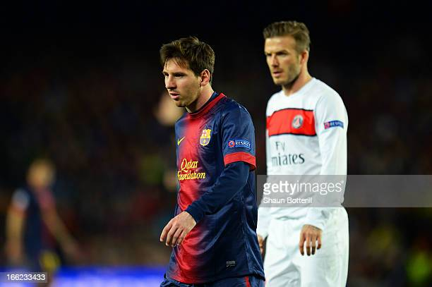 Lionel Messi of Barcelona and David Beckham of PSG in action during the UEFA Champions League quarterfinal second leg match between Barcelona and...