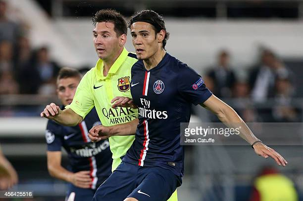 Lionel Messi of Barcelona and Edinson Cavani of PSG in action during the UEFA Champions League Group F match between Paris SaintGermain FC and FC...
