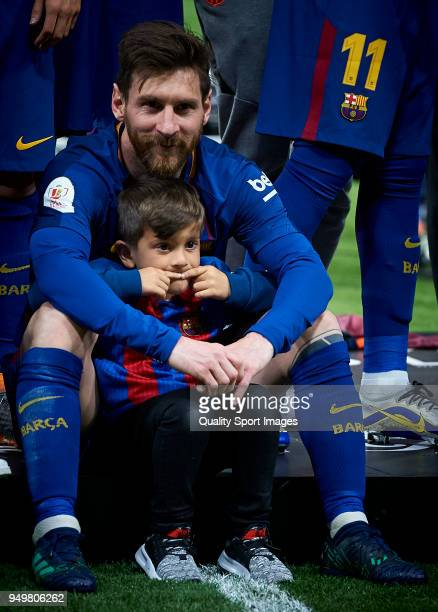 Lionel Messi of Barcelona and his child at the Spanish Copa del Rey Final match between Barcelona and Sevilla at Wanda Metropolitano on April 21 2018...