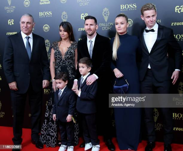 Lionel Messi of Barcelona and his wife Antonella Roccuzzo arrive for the Ballon d'Or ceremony at Theatre du Chatelet in Paris on December 02 2019