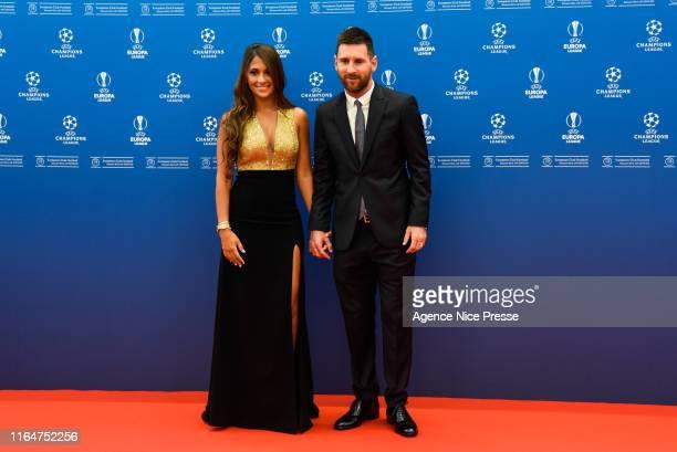 Lionel Messi of Barcelona and his wife Antonella Roccuzzo during the 2019/2020 UEFA Champions League draw on August 29, 2019 in Monaco, Monaco.