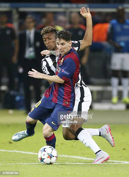 Lionel Messi of Barcelona and Kingsley Coman of Juventus Turin in action during the UEFA Champions League Final between Juventus Turin and FC...