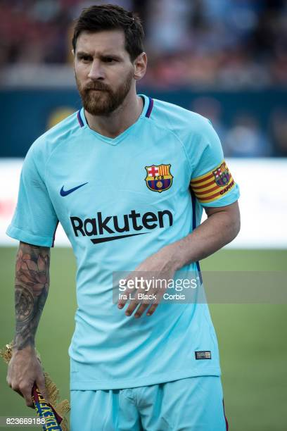 Lionel Messi of Barcelona at the start of the International Champions Cup match between FC Barcelona and Manchester United at the FedEx Field on July...