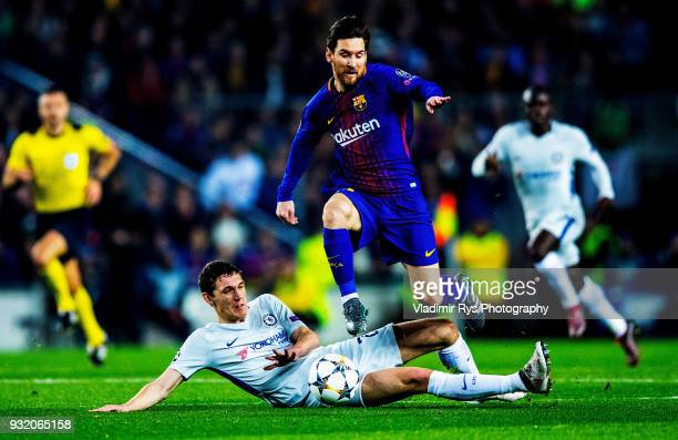 Lionel Messi of Barcelona attacks as Andreas Christensen of Chelsea defends during the UEFA Champions League Round of 16 second leg match between FC...