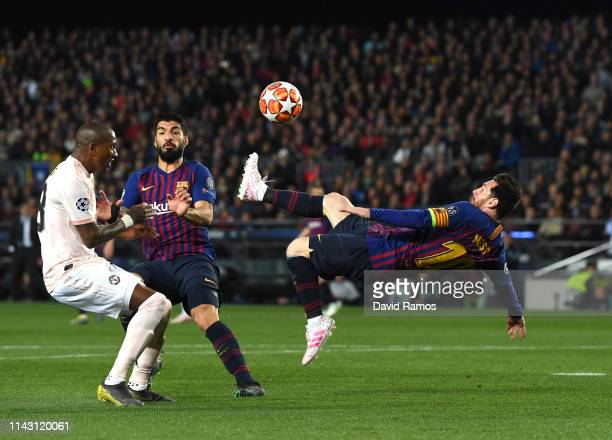 Lionel Messi of Barcelona attempts a over head kick during the UEFA Champions League Quarter Final second leg match between FC Barcelona and...