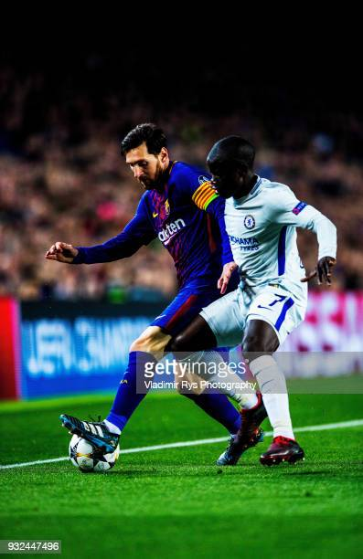 Lionel Messi of Barcelona battles for the ball with N'Golo Kante of Chelsea during the UEFA Champions League Round of 16 second leg match between FC...