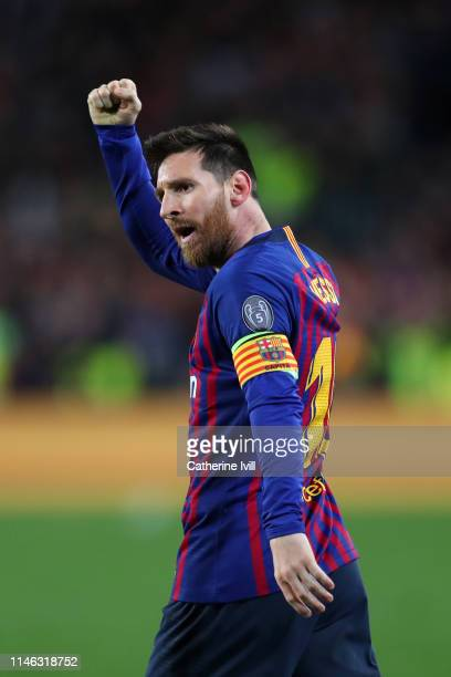 Lionel Messi of Barcelona celebrates after he scores his sides second goal during the UEFA Champions League Semi Final first leg match between...
