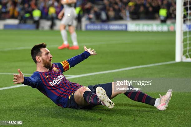 Lionel Messi of Barcelona celebrates after he scores his sides third goal during the UEFA Champions League Semi Final first leg match between...