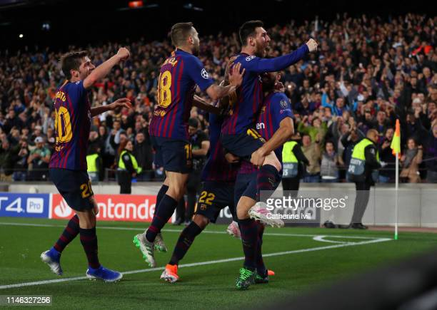 Lionel Messi of Barcelona celebrates after he scores his teams second goal during the UEFA Champions League Semi Final first leg match between...