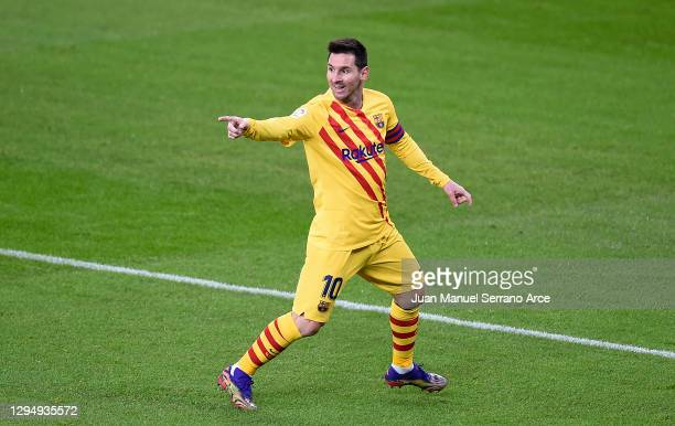 Lionel Messi of Barcelona celebrates after he scores his team's second goal during the La Liga Santander match between Athletic Club and FC Barcelona...