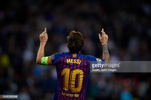 Lionel Messi of Barcelona celebrates after scoring a goal during the Group B match of the UEFA Champions League between Tottenham Hotspur and FC...