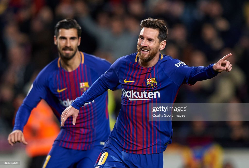 Lionel Messi (R) of Barcelona celebrates after scoring a goal during the Copa Del Rey 2nd leg match between Barcelona and Celta Vigo at Camp Nou on January 11, 2018 in Barcelona, Spain.