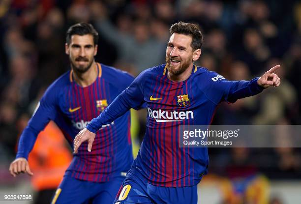 Lionel Messi of Barcelona celebrates after scoring a goal during the Copa Del Rey 2nd leg match between Barcelona and Celta Vigo at Camp Nou on...