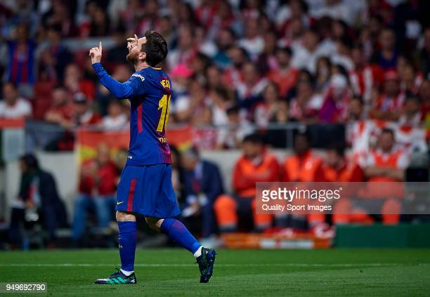 Lionel Messi of Barcelona celebrates after scoring a goal during the Spanish Copa del Rey Final match between Barcelona and Sevilla at Wanda...