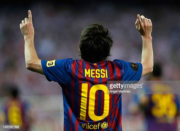 Lionel Messi of Barcelona celebrates after scoring Barcelona's second goal during the Copa del Rey Final match between Athletic Bilbao and Barcelona...