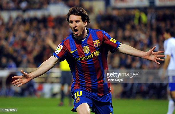 Lionel Messi of Barcelona celebrates after scoring during the La Liga match between Real Zaragoza and Barcelona at La Romareda stadium on March 21...