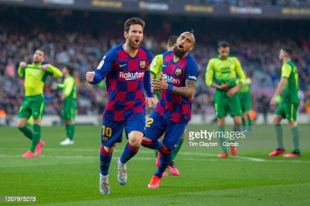 Lionel Messi of Barcelona celebrates after scoring his first goal during the Barcelona V Eibar La Liga regular season match at Estadio Camp Nou on...